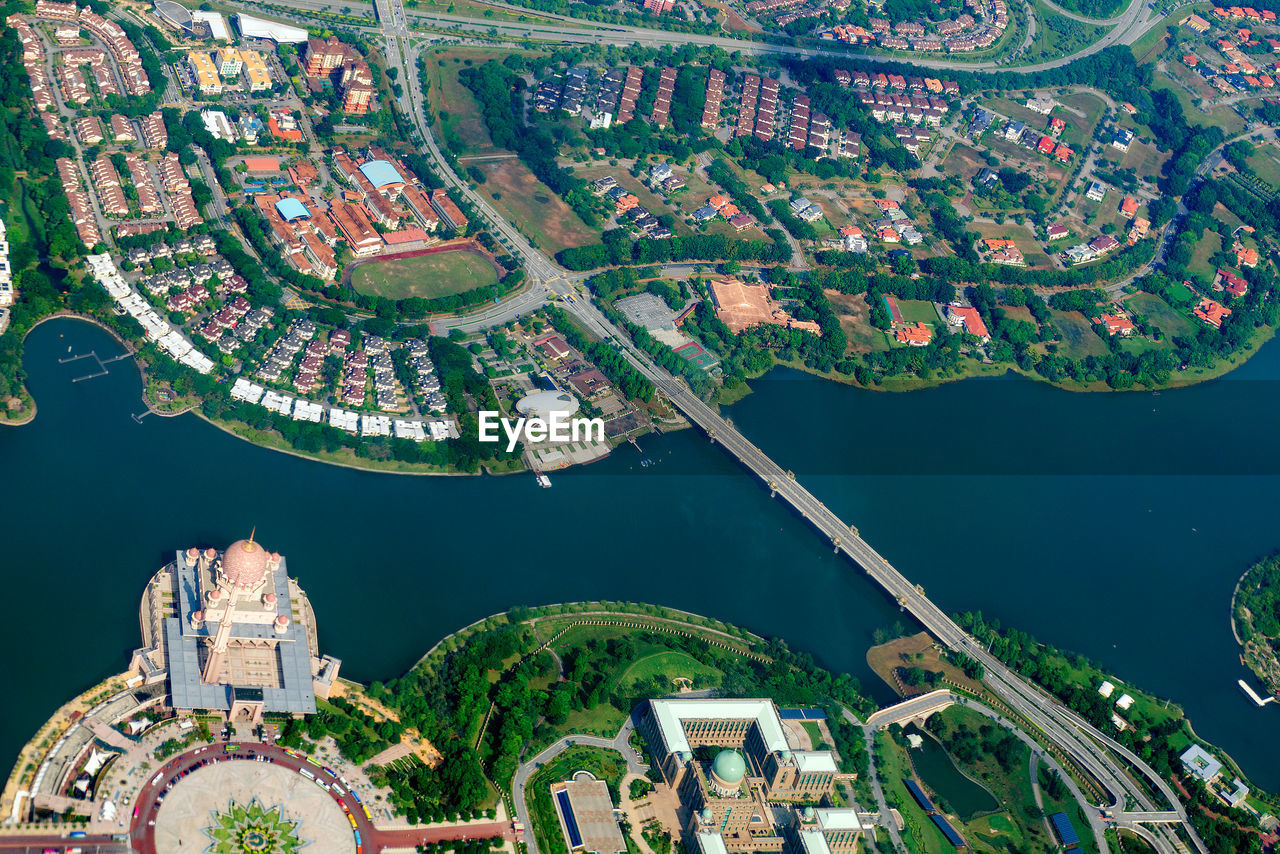 Overhead city view. aerial cityscape of malaysia.