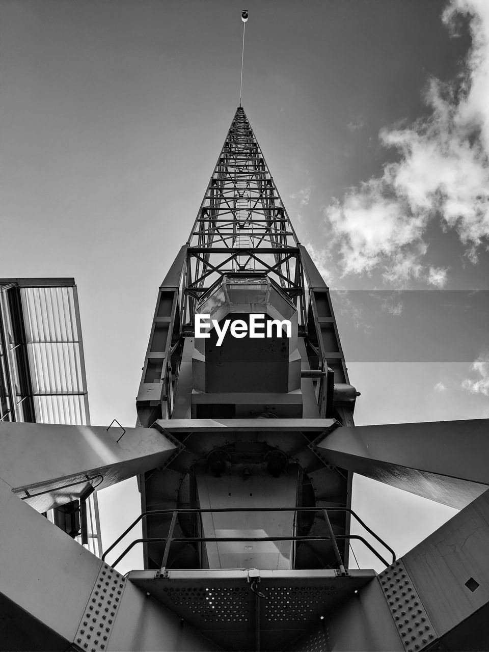 built structure, sky, architecture, low angle view, building exterior, no people, nature, day, building, tower, cloud - sky, outdoors, metal, tall - high, connection, railing, technology, communication, directly below, spire