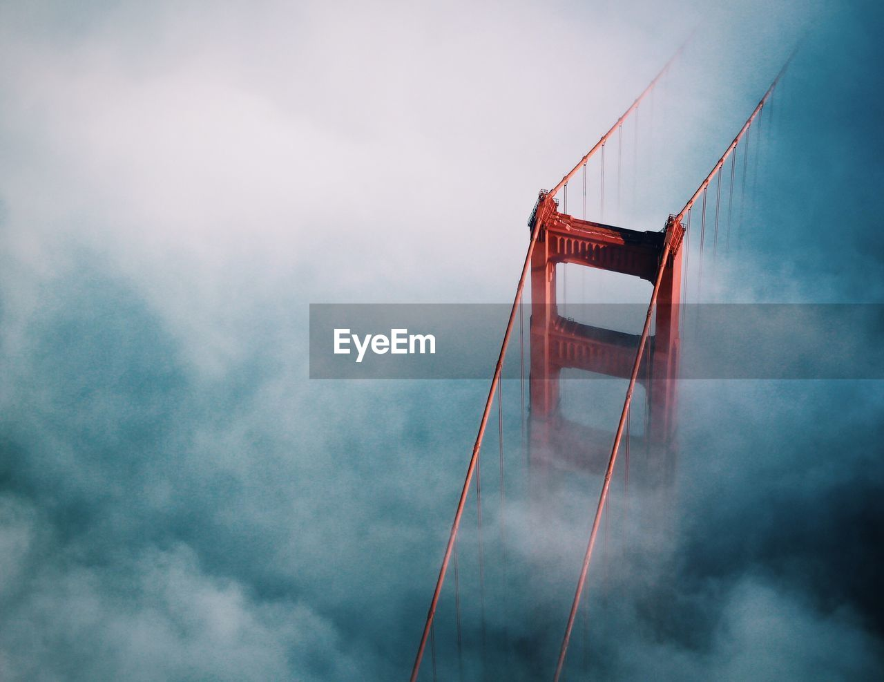 High angle view of bridge in clouds