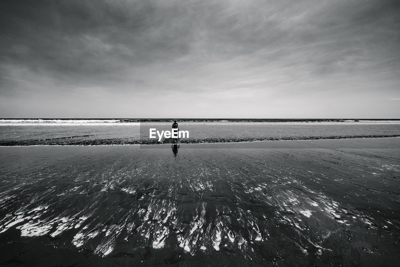 Mid distance view of woman standing at beach against cloudy sky