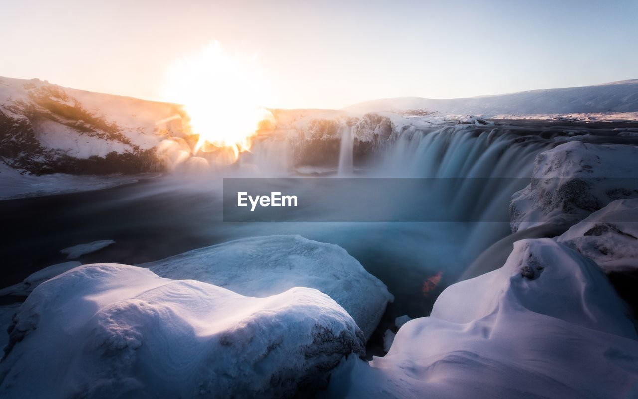 Majestic View Of Godafoss Waterfall During Winter