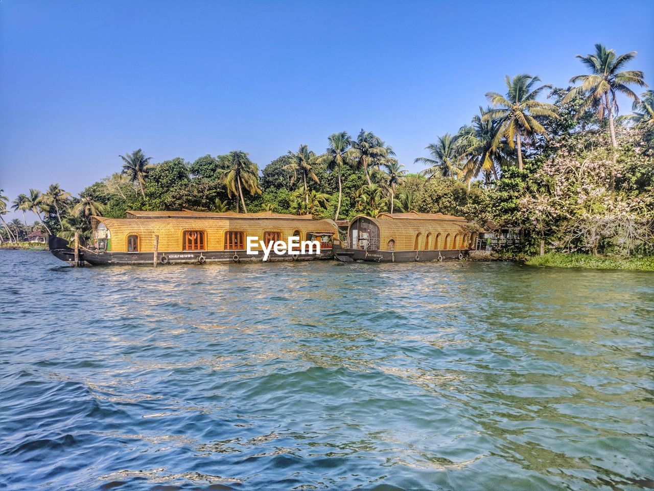 water, tree, sky, architecture, built structure, plant, waterfront, tropical climate, nature, palm tree, clear sky, blue, no people, day, building exterior, scenics - nature, building, tranquility, house, outdoors, coconut palm tree