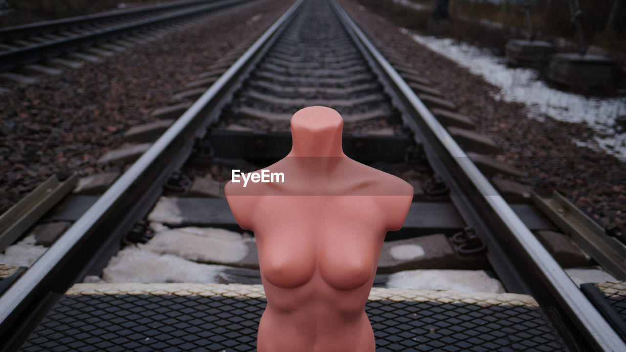 Mannequin on railroad track