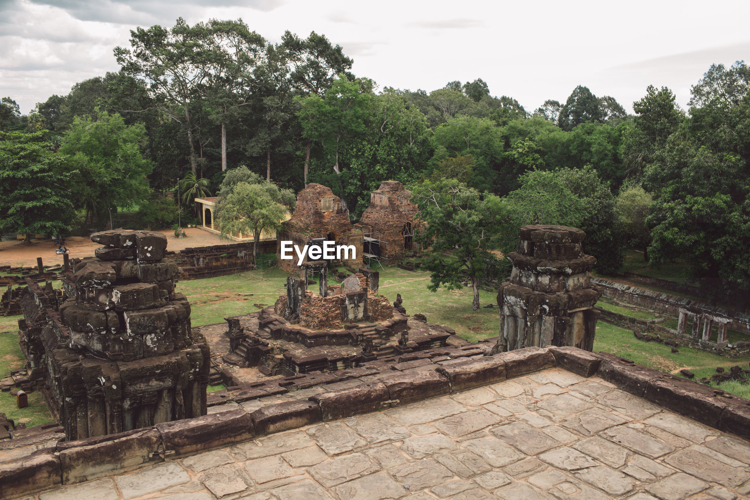 High angle view of old ruins amidst trees