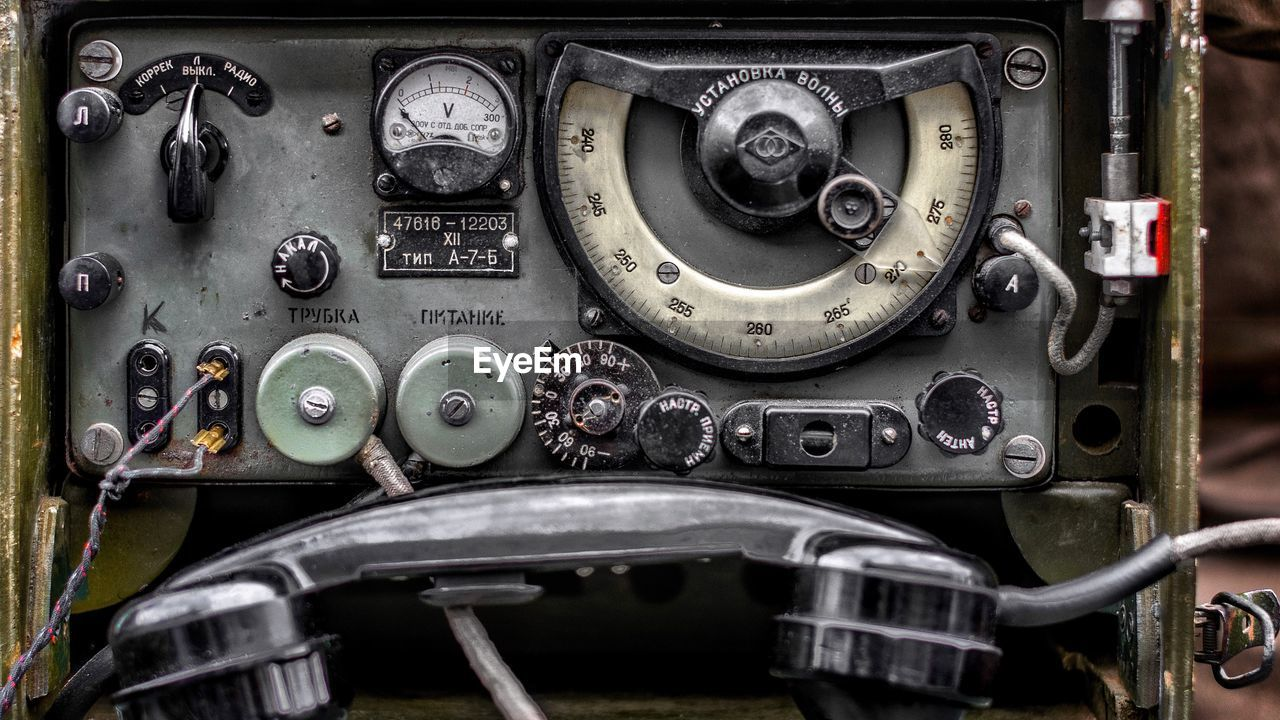 Close-up of abandoned dashboard