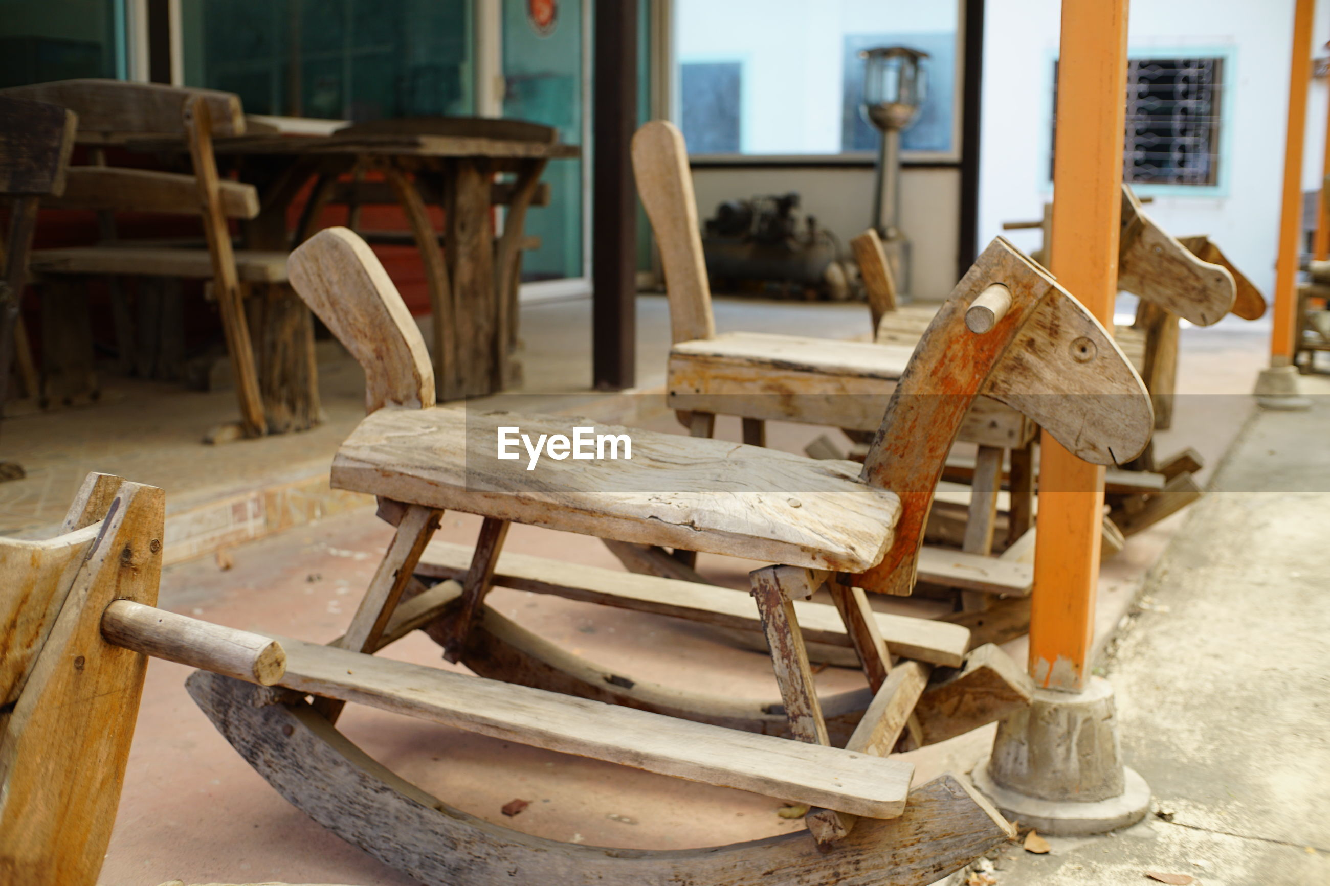 Close-up of wooden rocking chair