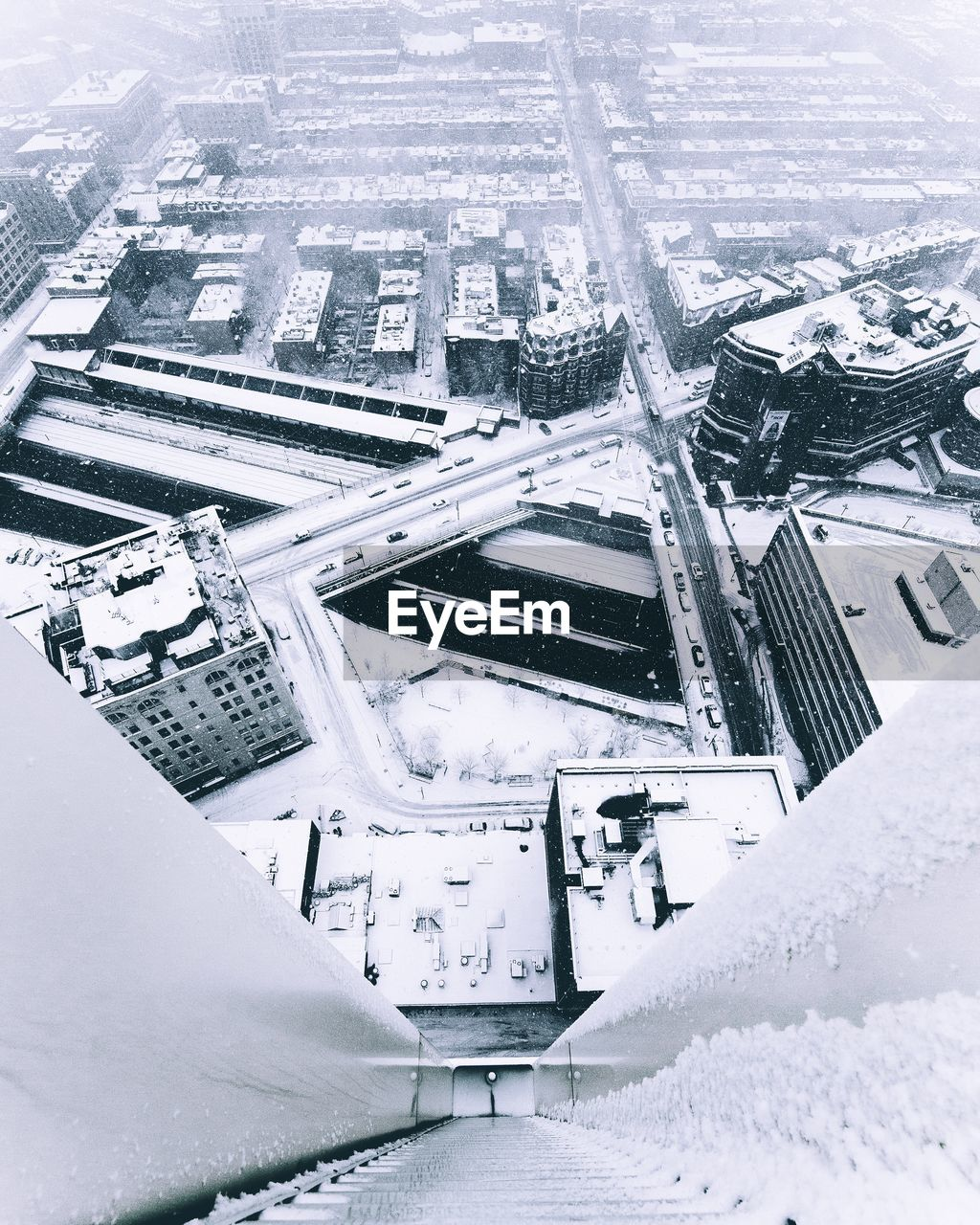Aerial view of city during winter