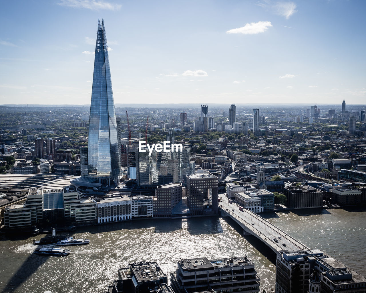 High Angle View Of Skyline Of London With River Thames