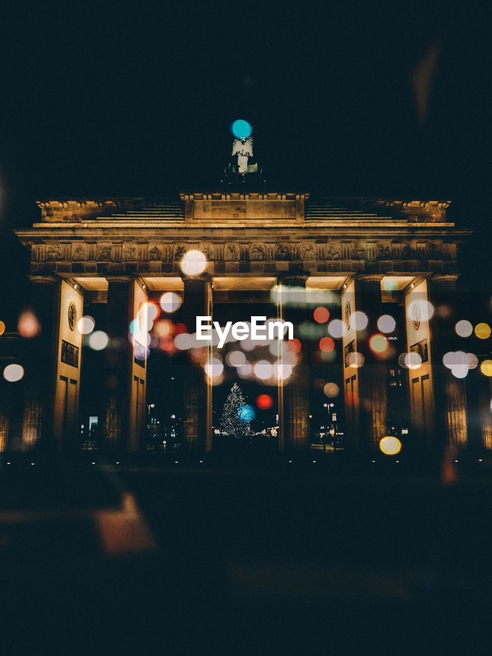 Low Angle View Of Brandenburg Gate Against Sky At Night
