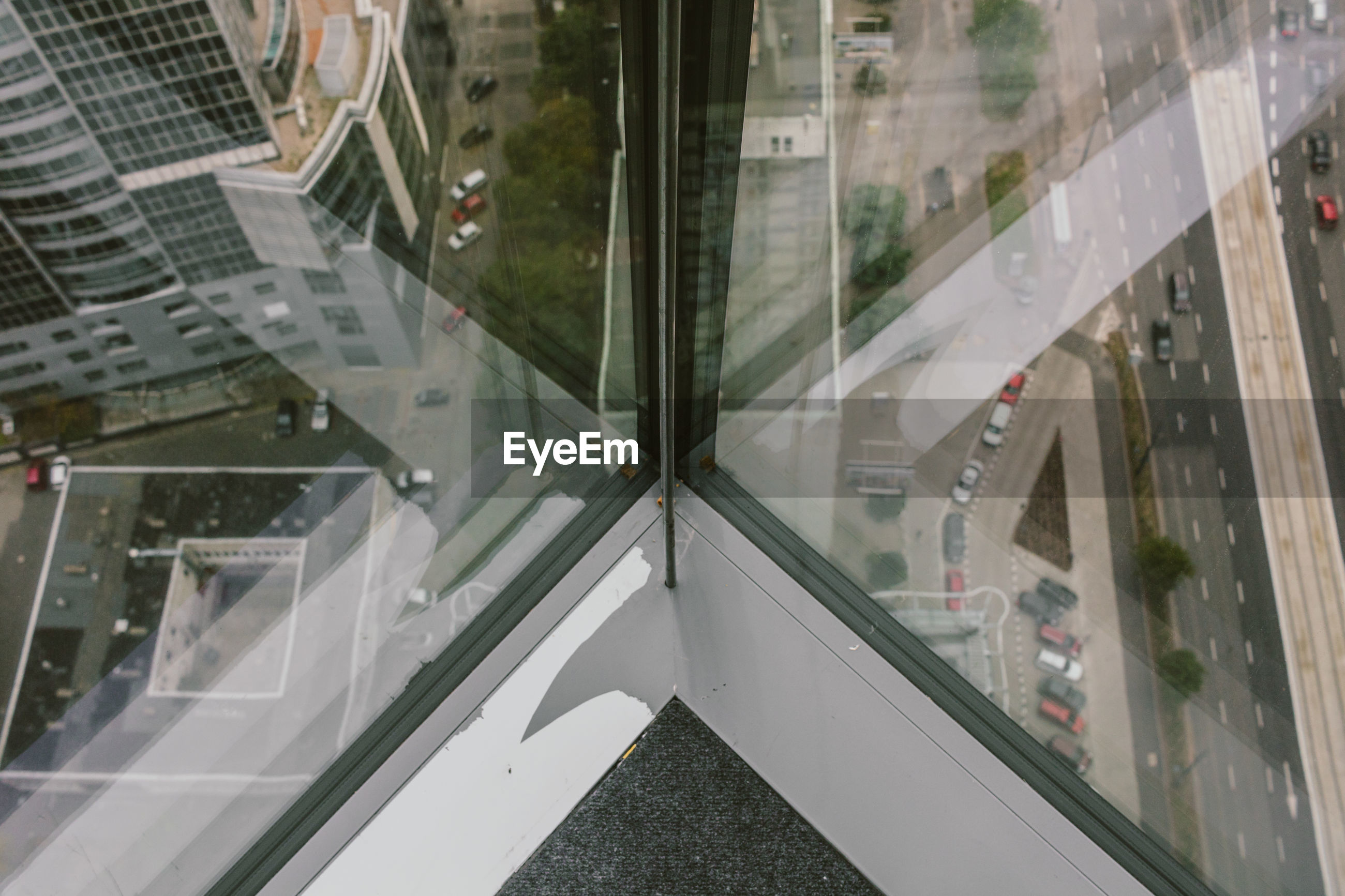 High angle view of city street from inside of buildling