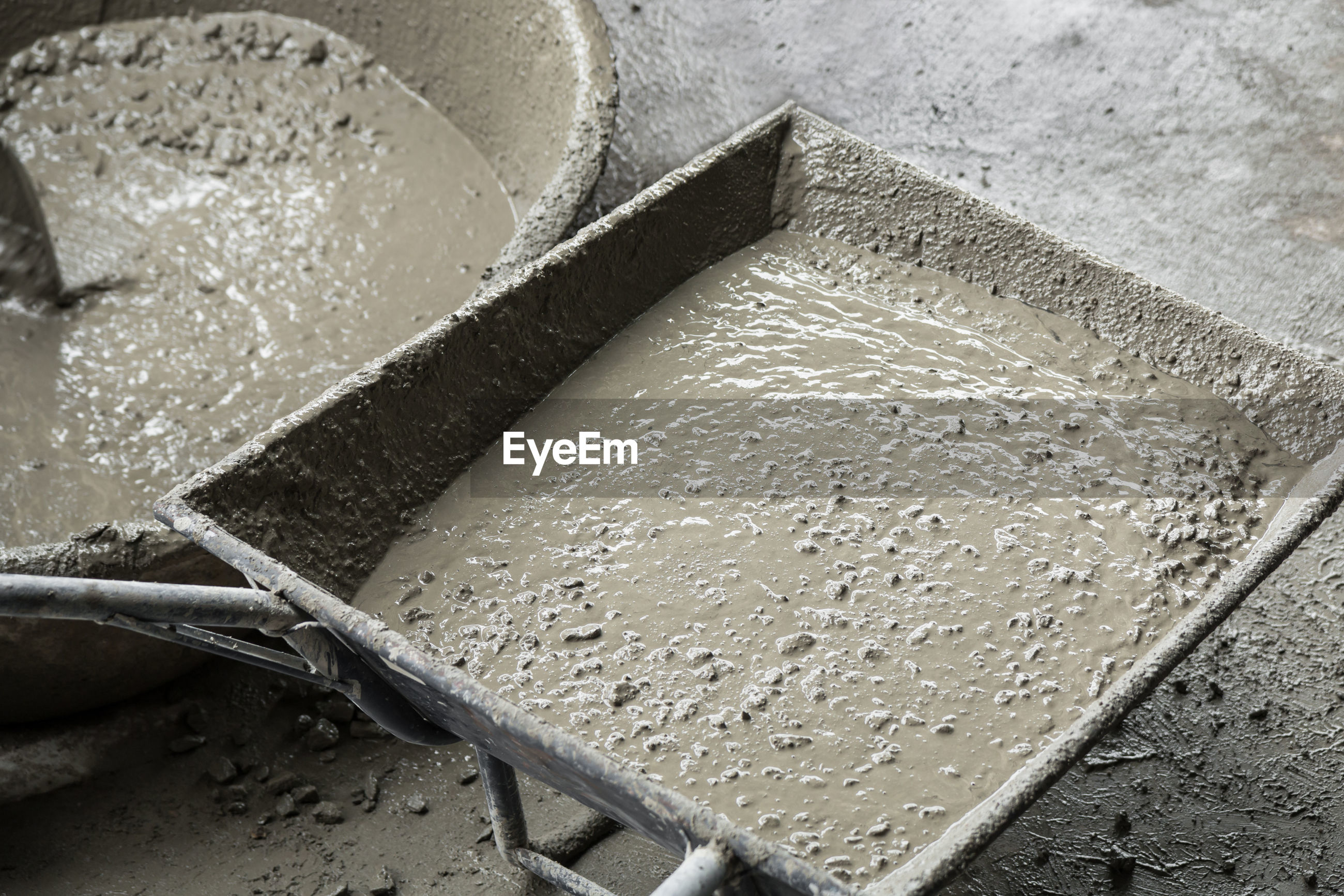 High angle view of cement in cart