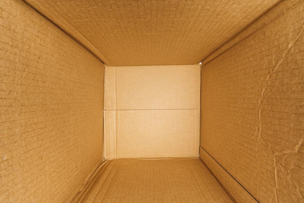 Full frame shot of empty cardboard box