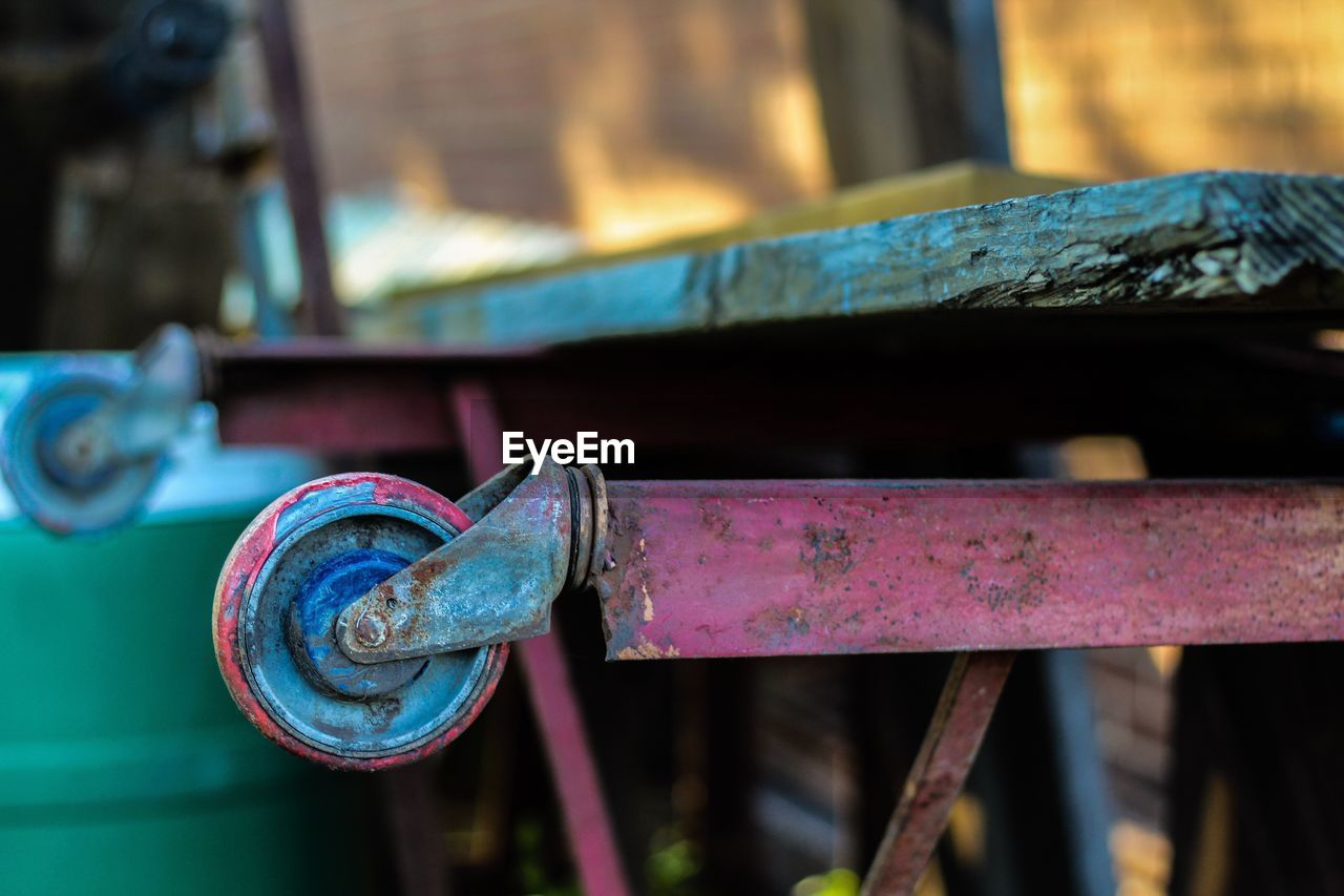 Close-up of old abandoned cart