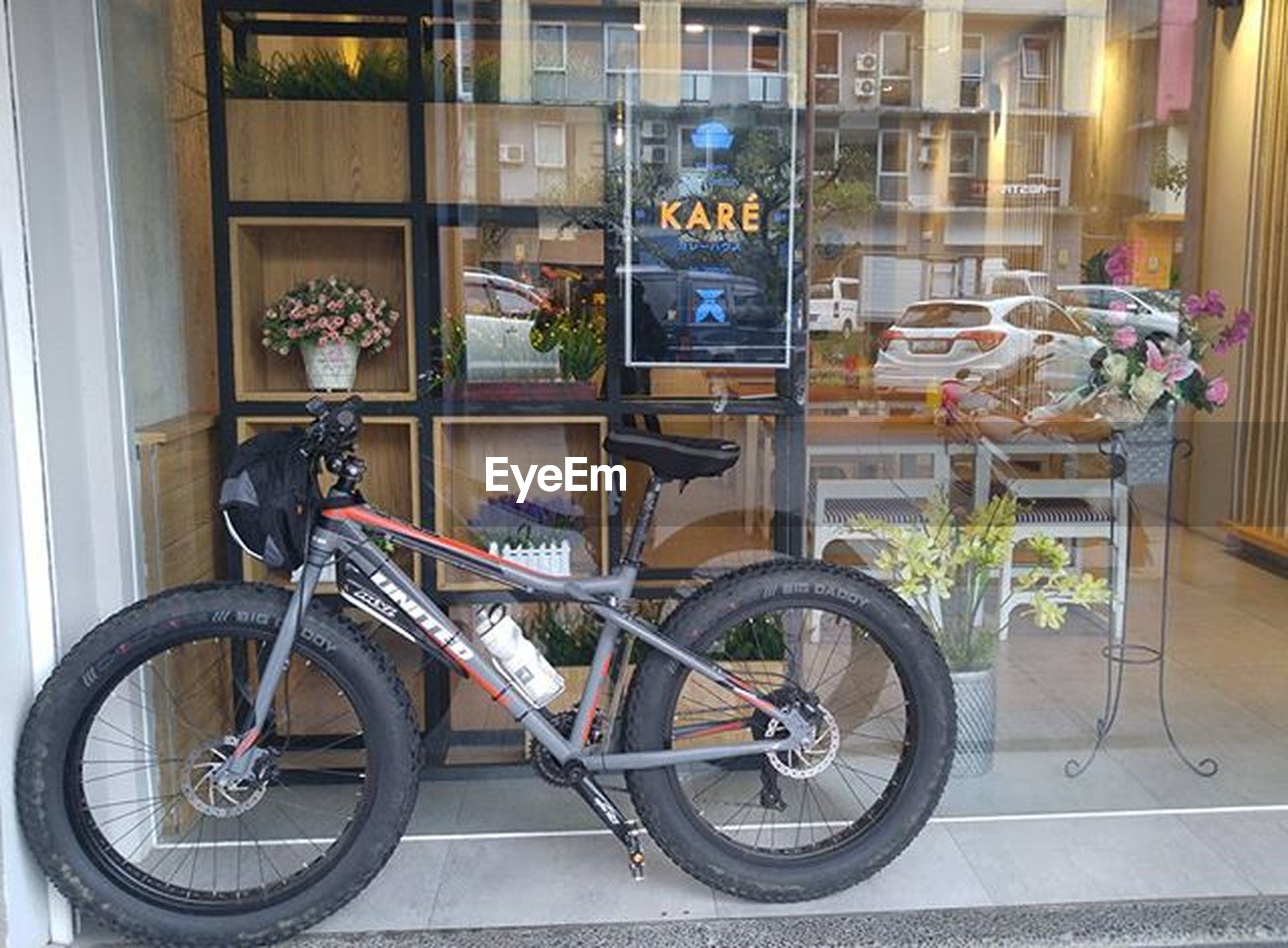 bicycle, architecture, built structure, building exterior, mode of transport, window, transportation, land vehicle, stationary, parking, parked, indoors, building, house, day, no people, city, wall - building feature, potted plant