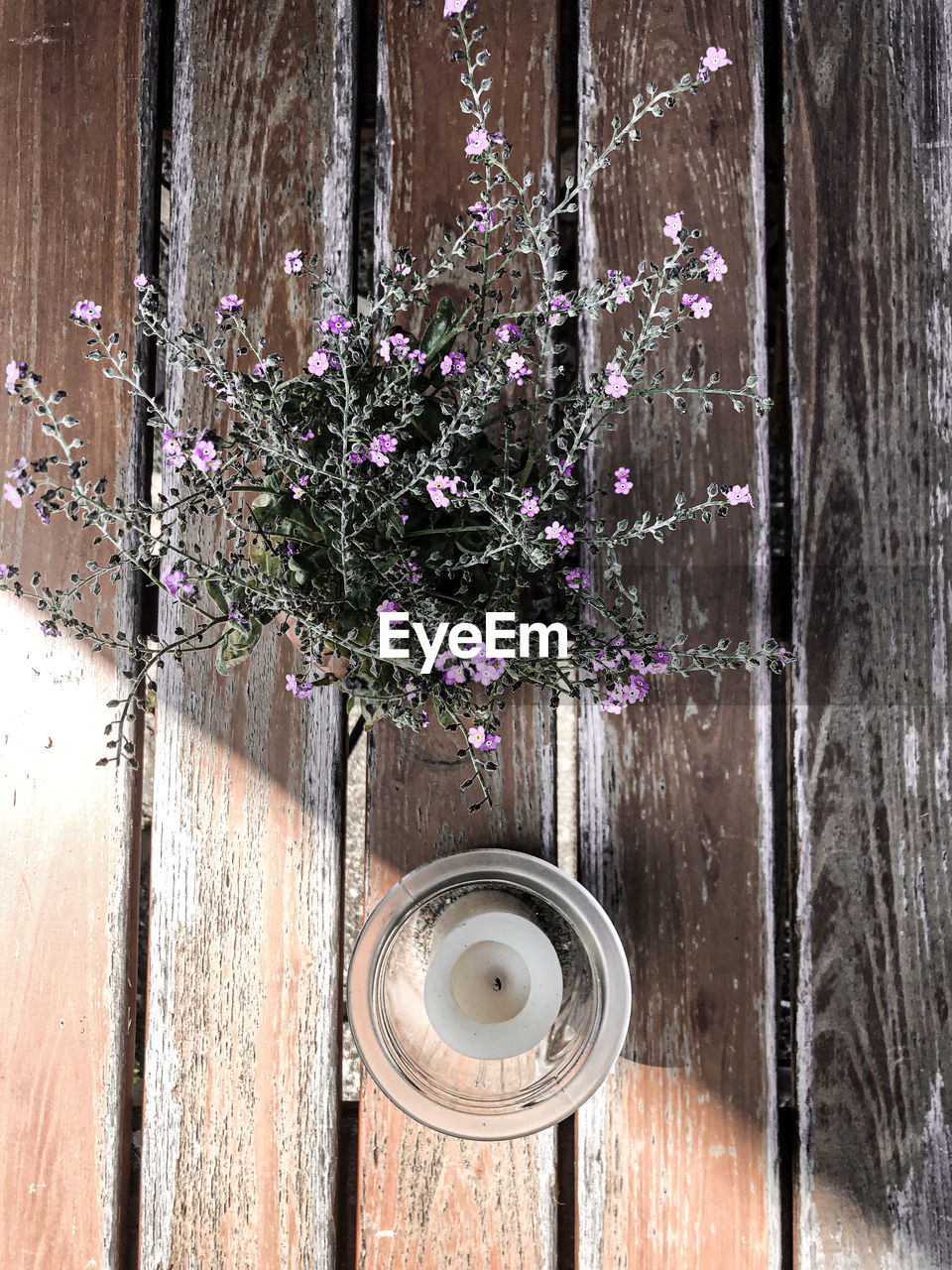 flower, flowering plant, wood - material, plant, freshness, fragility, vulnerability, nature, no people, close-up, beauty in nature, outdoors, purple, day, table, directly above, vase, flower head, glass - material, flower arrangement, flower pot, bouquet, wood grain