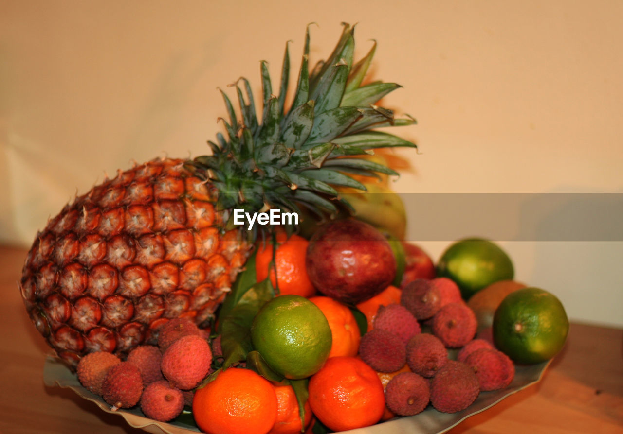 fruit, healthy eating, food and drink, food, freshness, indoors, pineapple, no people, table, close-up, day