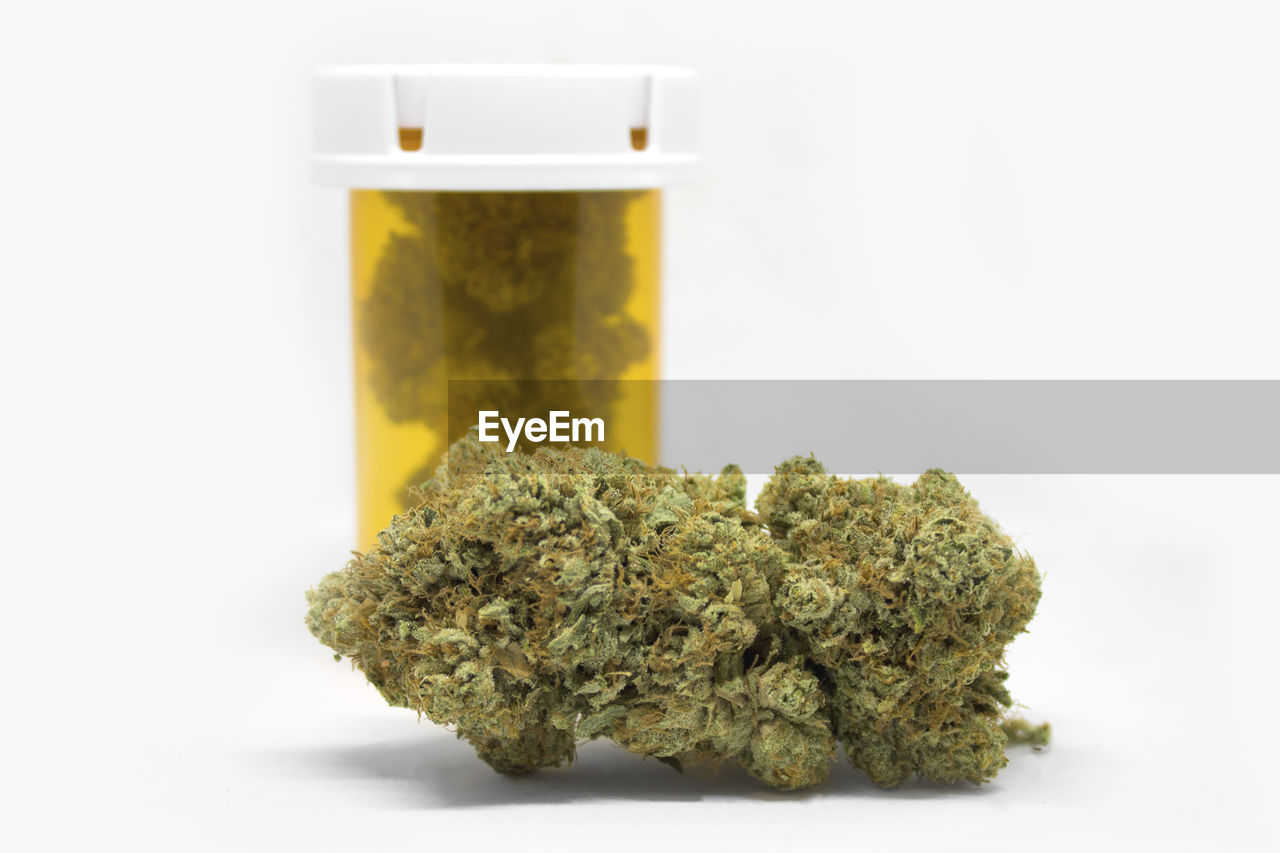 healthcare and medicine, studio shot, indoors, white background, medicine, close-up, marijuana - herbal cannabis, herbal medicine, plant, still life, green color, no people, container, herb, cannabis plant, food and drink, food, alternative medicine, cut out, bottle, medical cannabis