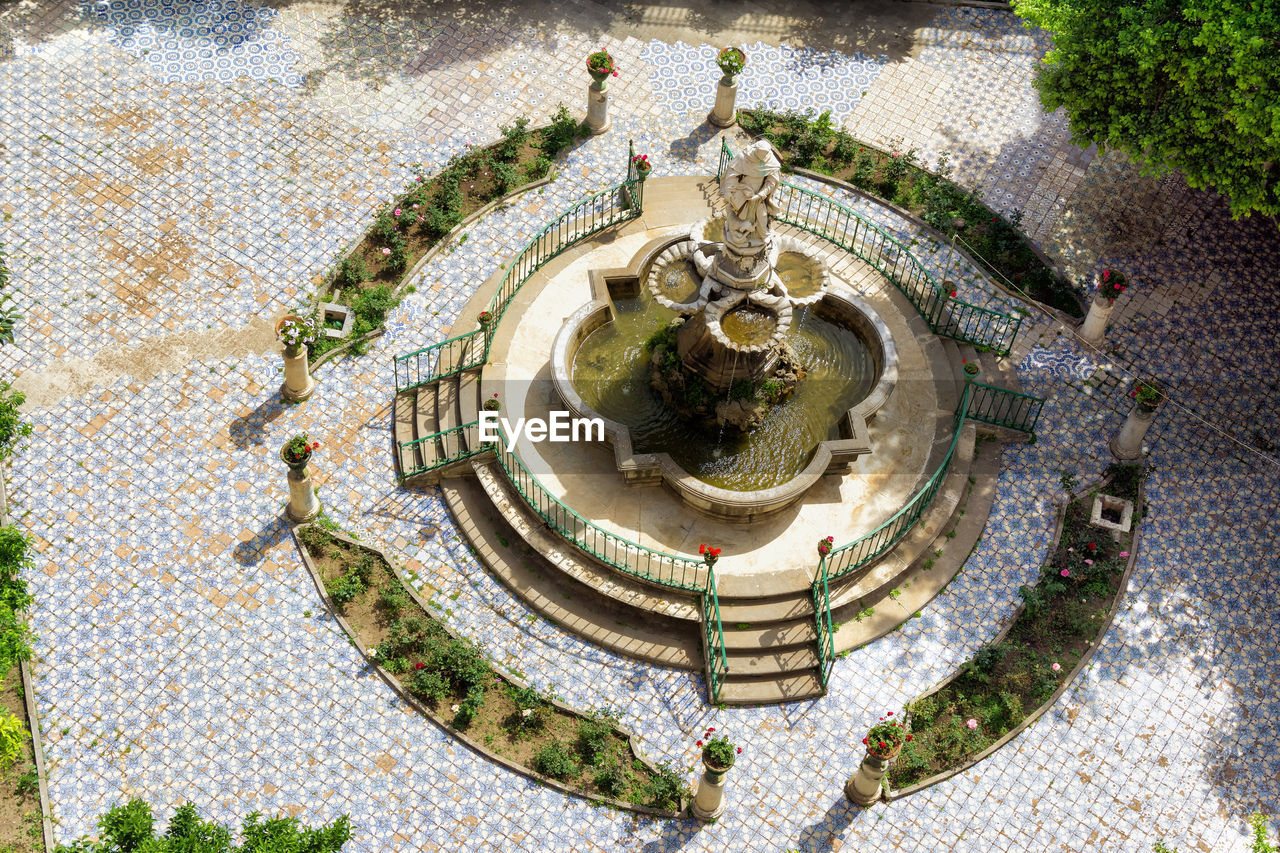 high angle view, architecture, nature, water, day, built structure, no people, travel destinations, travel, plant, tourism, outdoors, geometric shape, aerial view, history, flooring, the past, building exterior, circle, tiled floor, luxury