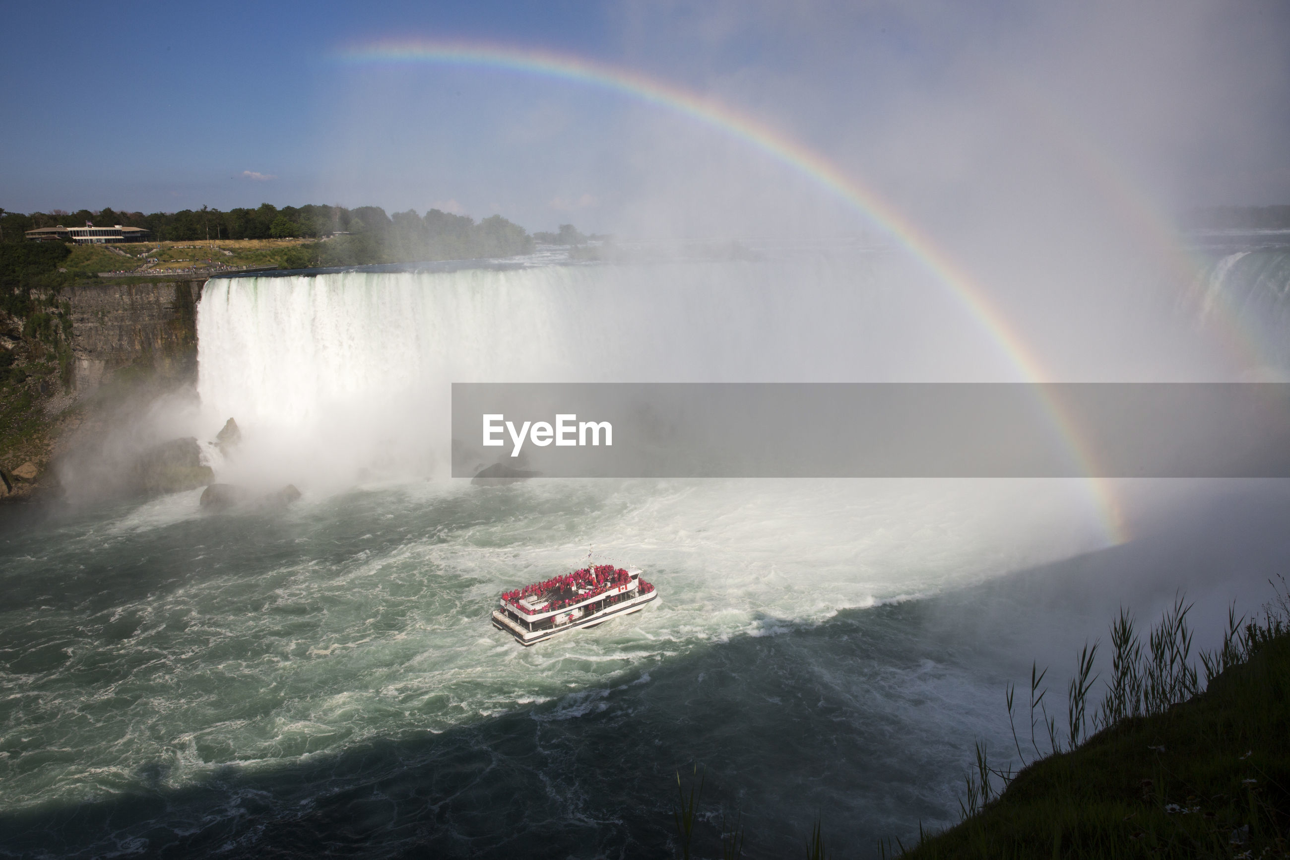 SCENIC VIEW OF RAINBOW OVER WATERFALL