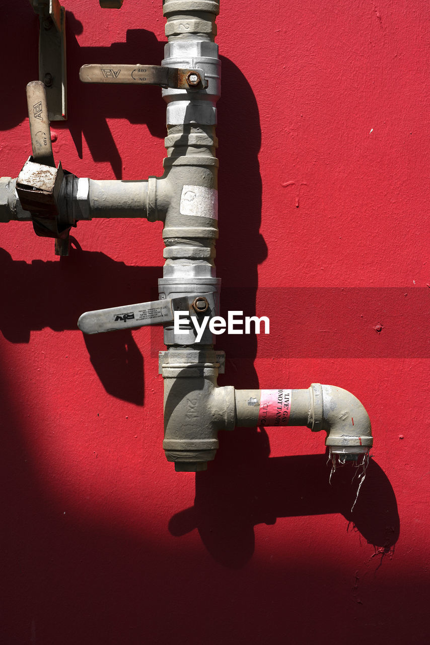 red, pipe - tube, pipeline, valve, metal, connection, close-up, no people, day, outdoors, water pipe