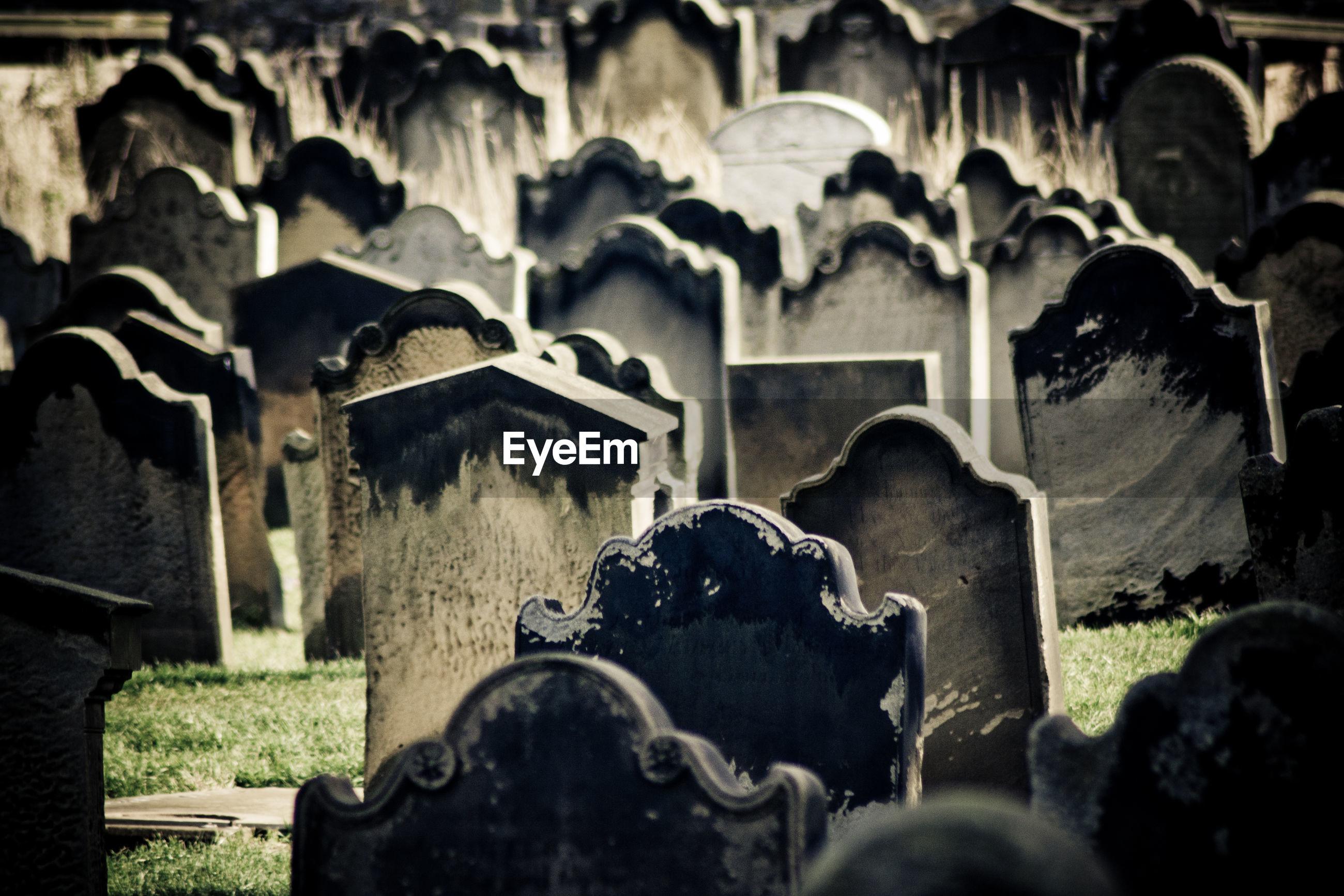 Full frame shot of tombstones in graveyard