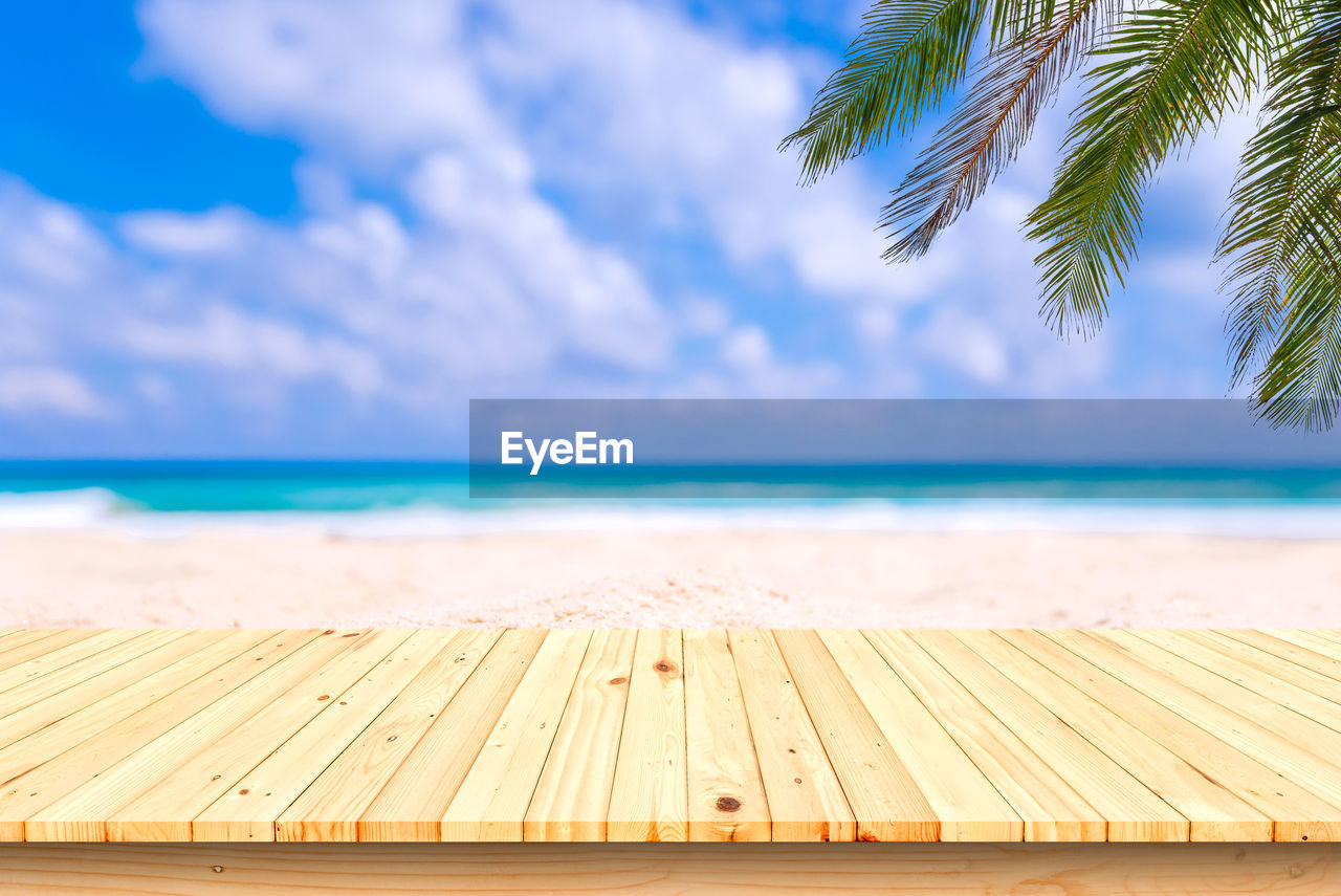 water, sky, sea, horizon over water, wood - material, cloud - sky, horizon, beauty in nature, tropical climate, day, nature, beach, scenics - nature, no people, palm tree, tranquil scene, land, tranquility, tree, outdoors