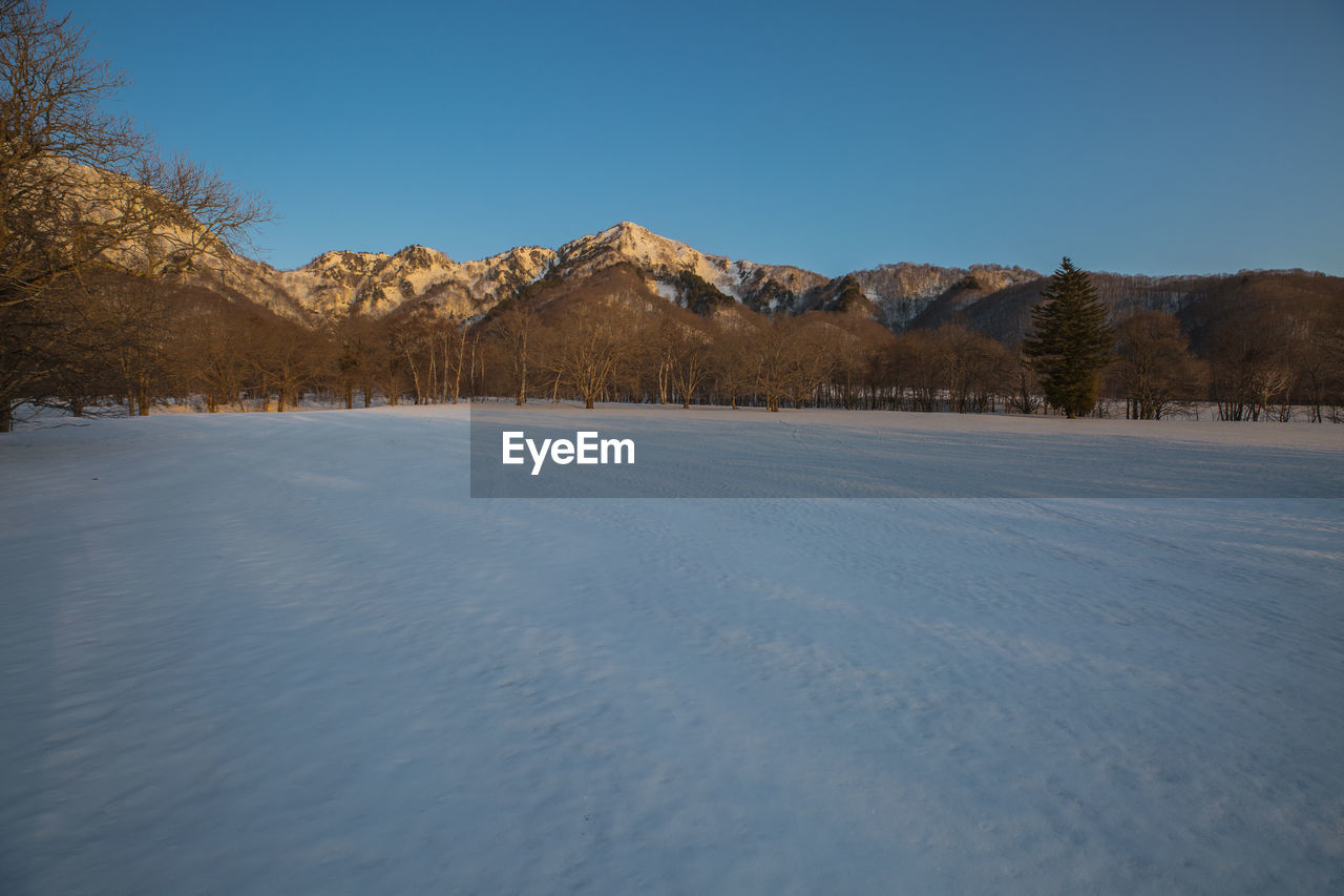 cold temperature, winter, tranquil scene, tranquility, scenics - nature, sky, mountain, snow, beauty in nature, non-urban scene, tree, nature, clear sky, environment, landscape, no people, plant, copy space, blue, snowcapped mountain