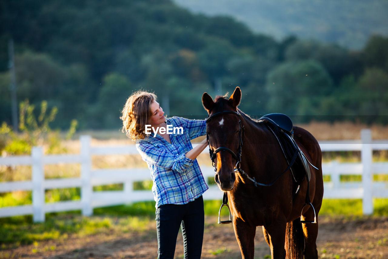 Full length of horse on field