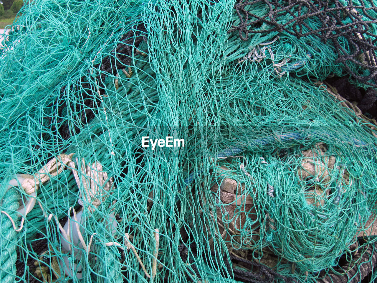 High Angle View Of Blue Fishing Net