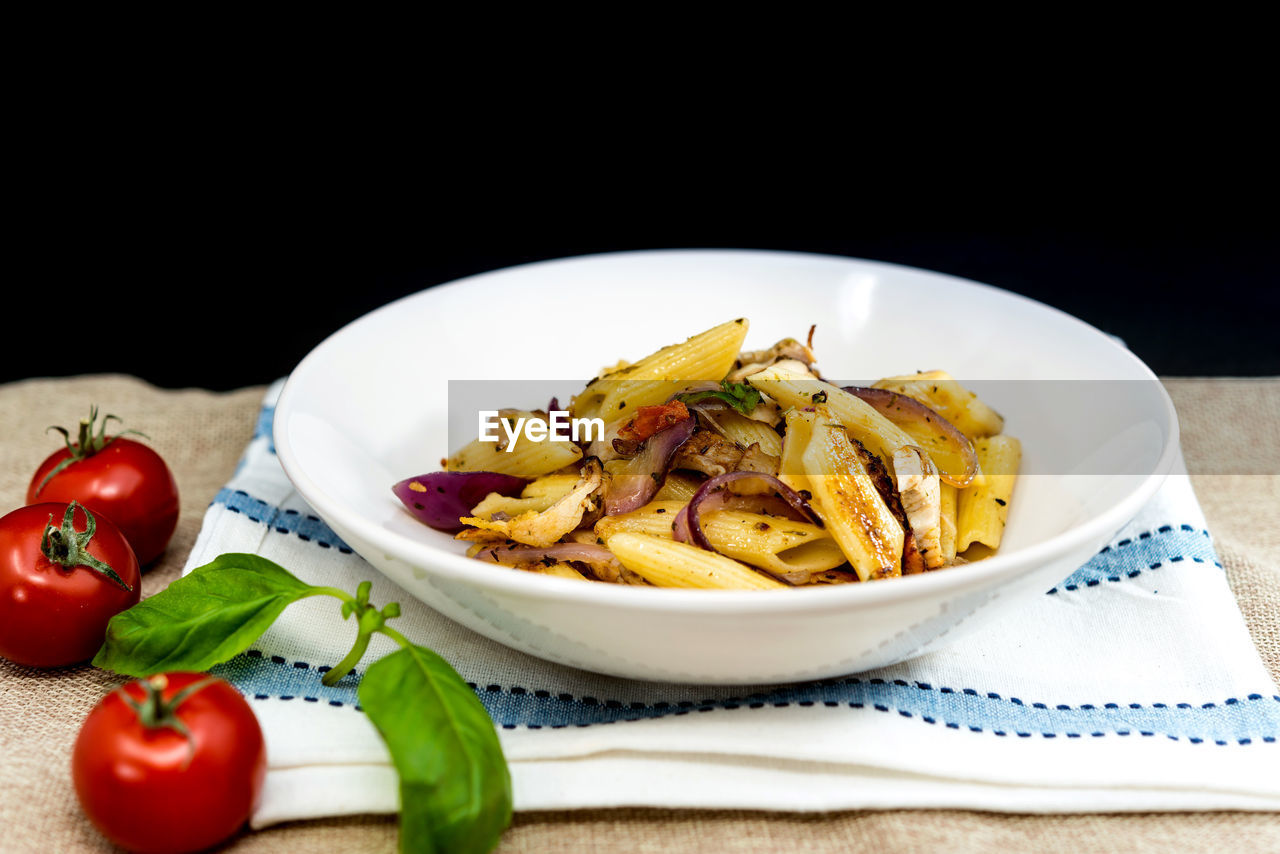 food and drink, food, freshness, plate, healthy eating, ready-to-eat, table, no people, vegetable, tomato, indoors, bowl, italian food, close-up, black background