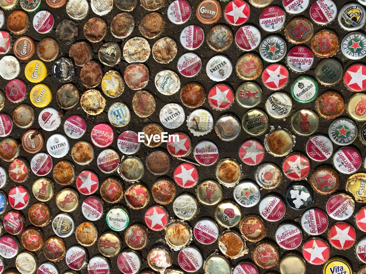 Directly above shot of various bottle caps