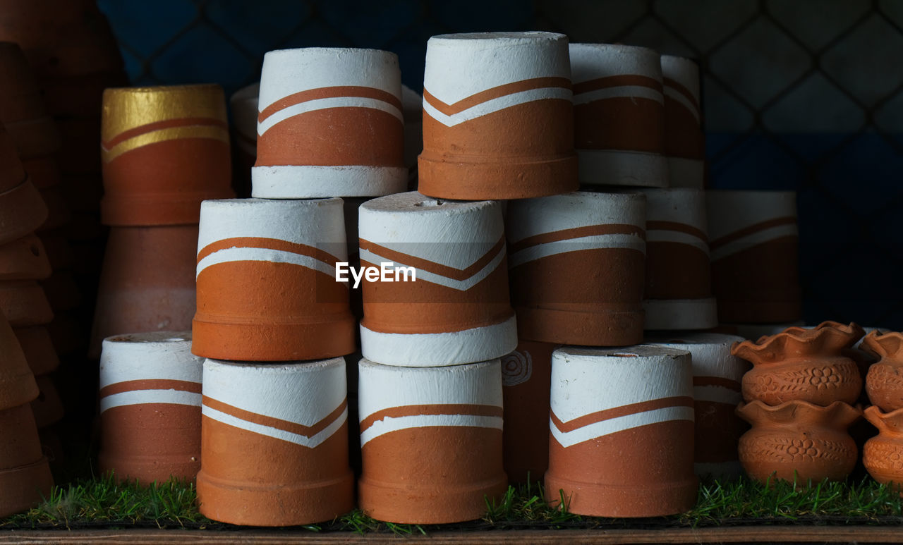 Stack Of Painted Pots