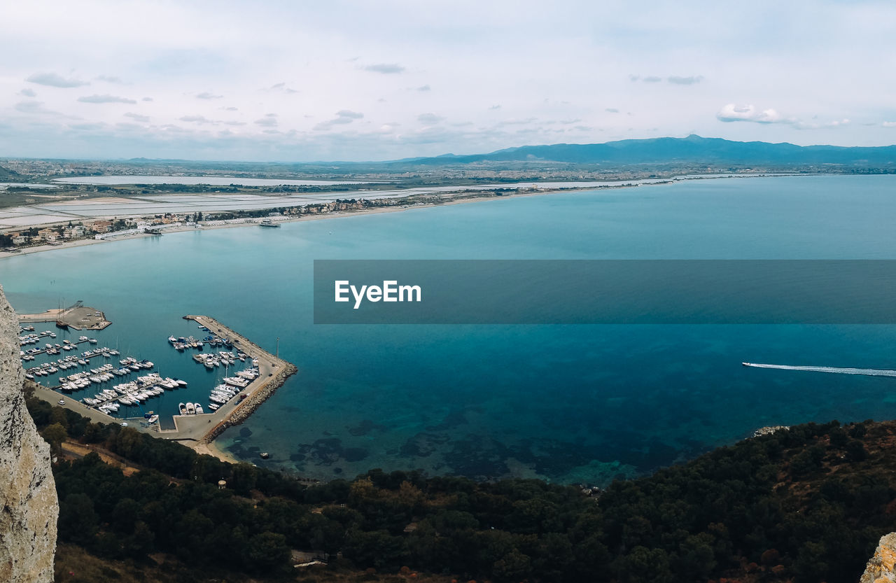 High Angle View Of Bay Against Sky
