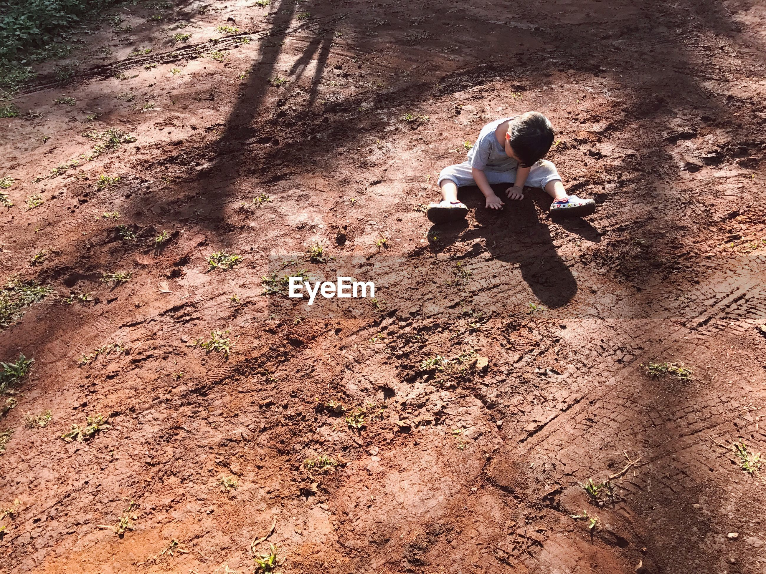 High angle view of boy sitting on field