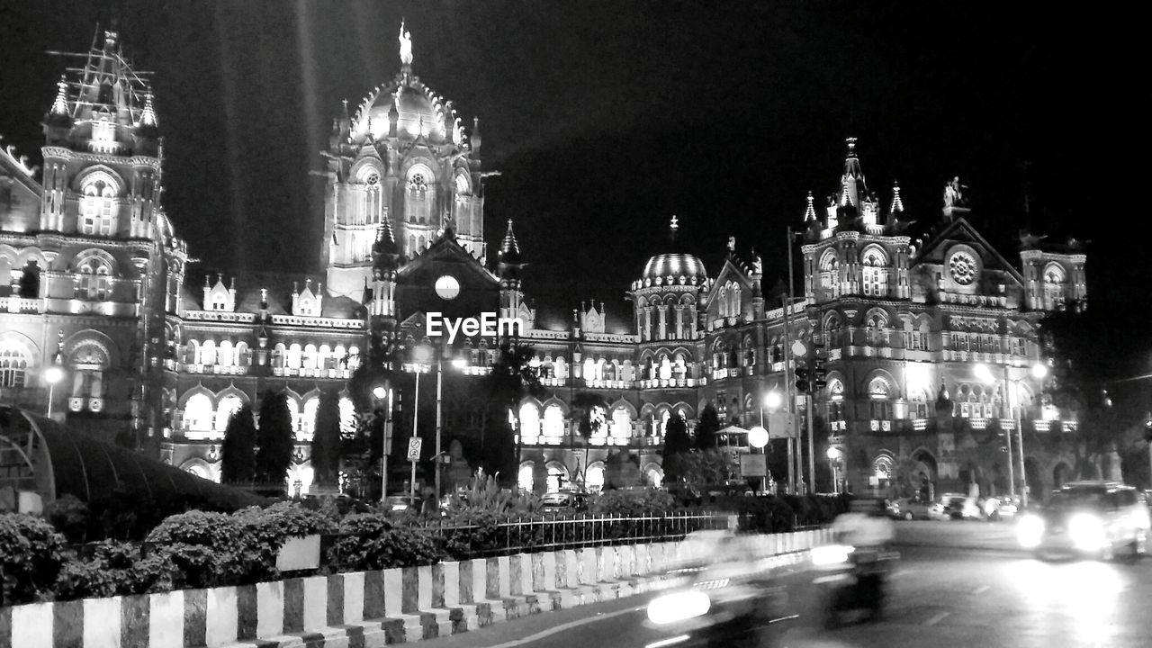 Illuminated Chhatrapati Shivaji Terminus At Night