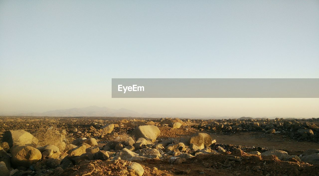 PANORAMIC SHOT OF LAND AGAINST CLEAR SKY