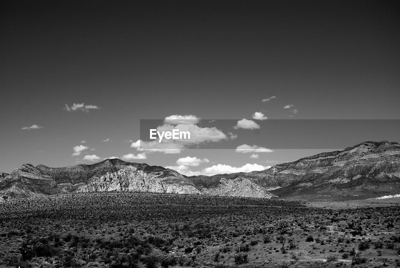 Scenic view of mountains at red rock canyon national conservation area against sky
