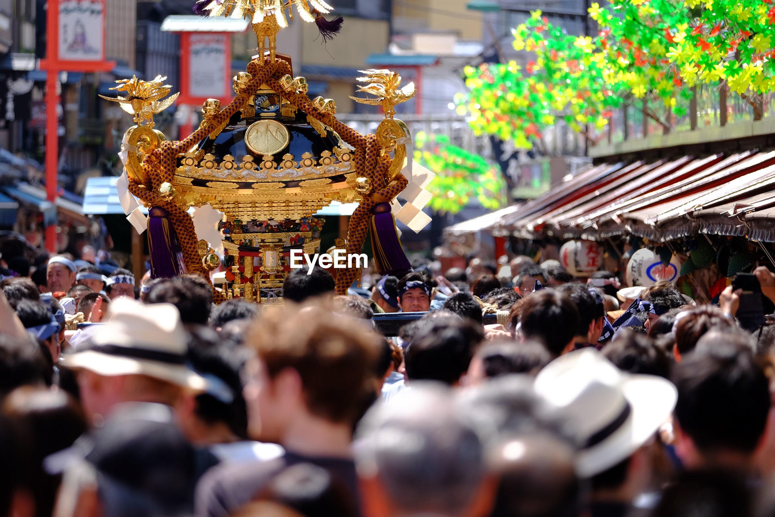 Crowd on street during mikoshi festival