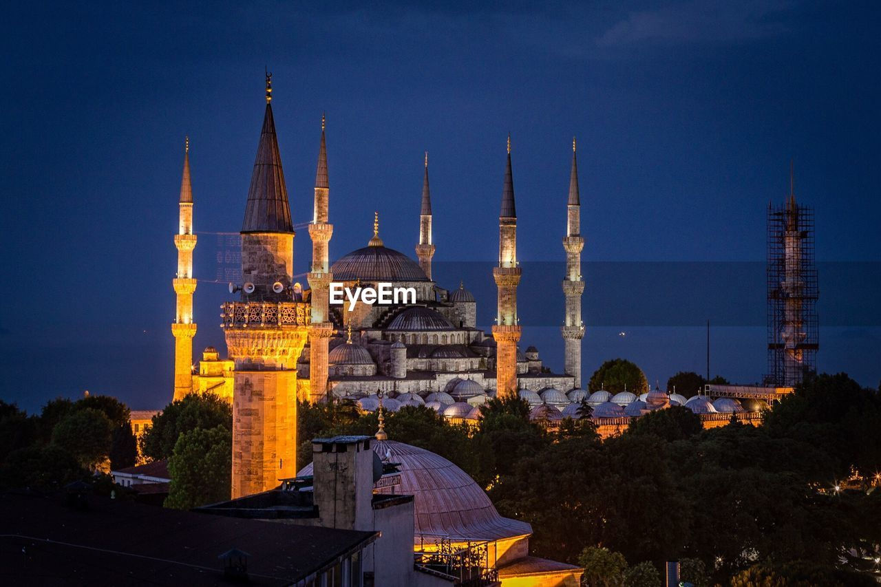 Blue Mosque In Turkey Lit Up At Night