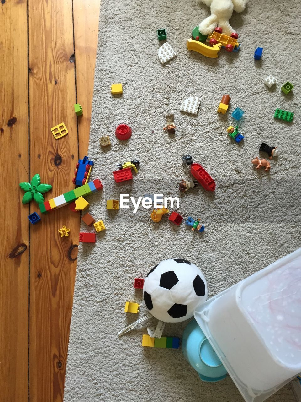 High Angle View Of Toys On Floor At Home