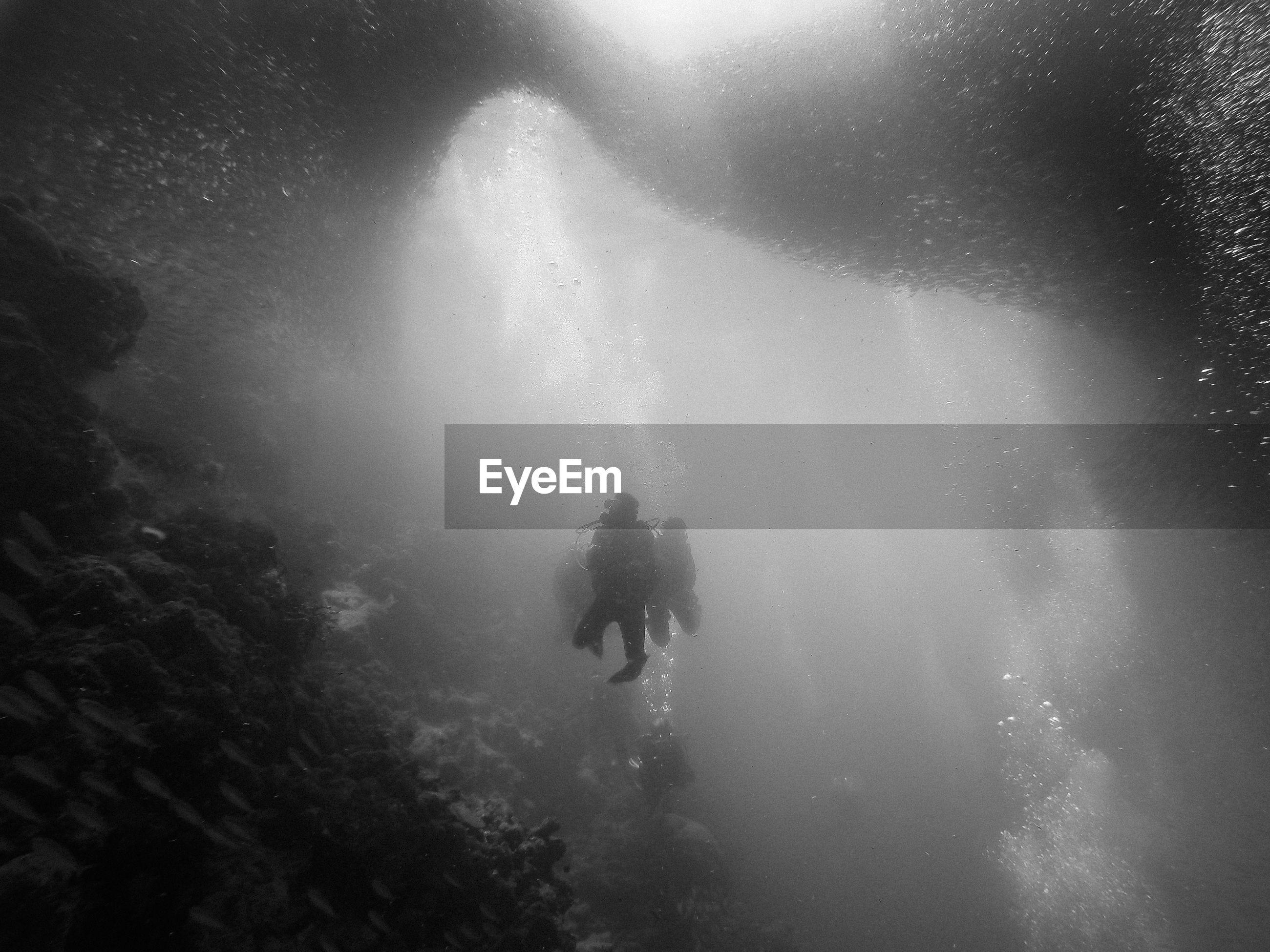 Silhouette person scuba diving undersea
