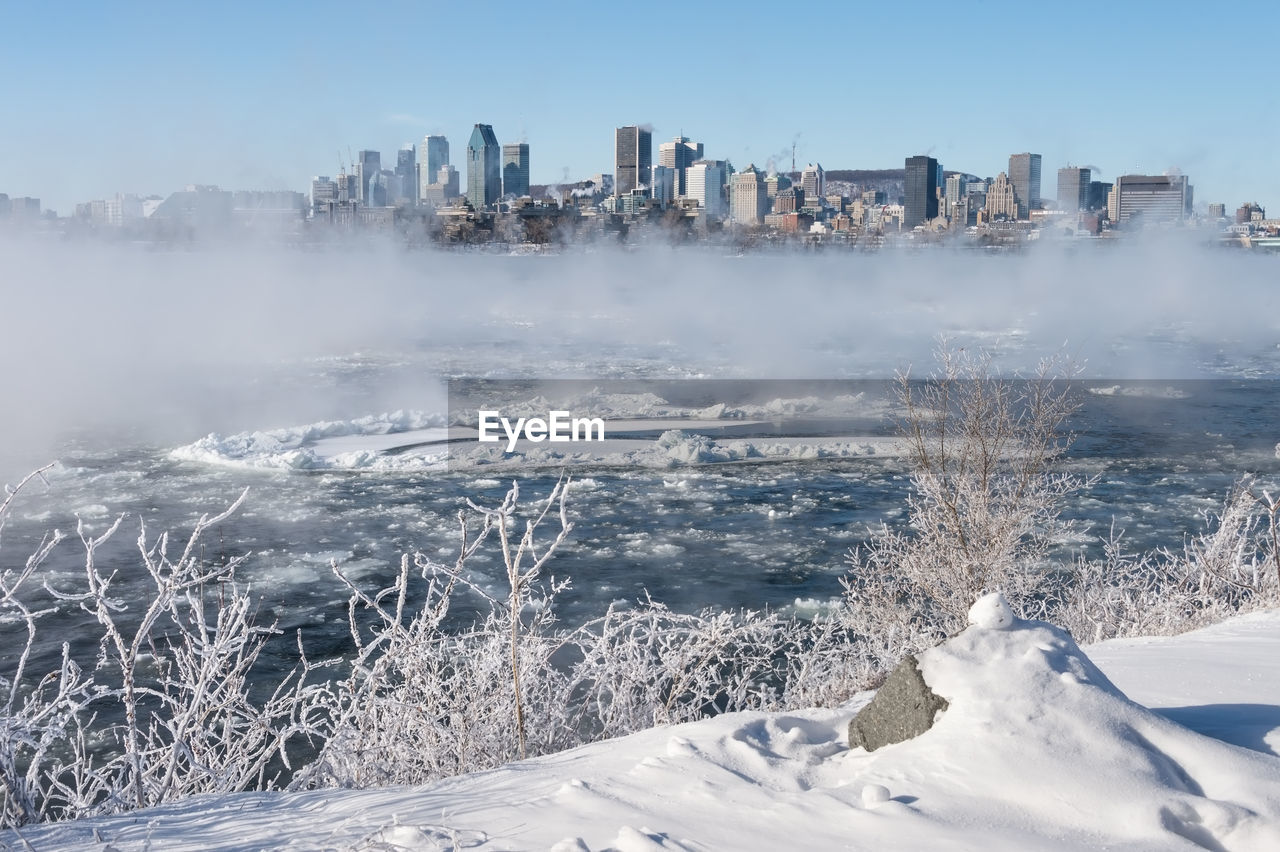 Aerial View Of Frozen River In City