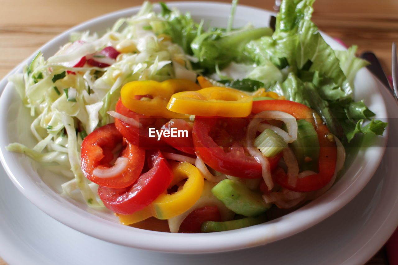 vegetable, food and drink, food, healthy eating, ready-to-eat, freshness, wellbeing, tomato, close-up, salad, pepper, no people, serving size, plate, fruit, still life, red, indoors, bell pepper, bowl, vegetarian food, chopped, crockery