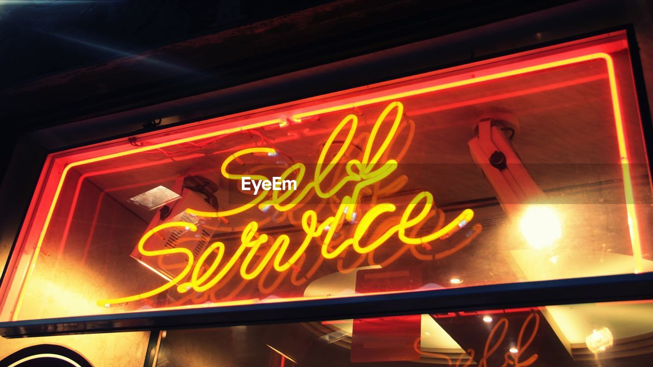 illuminated, neon, text, night, communication, open sign, store, no people, outdoors, ice cream parlor, close-up