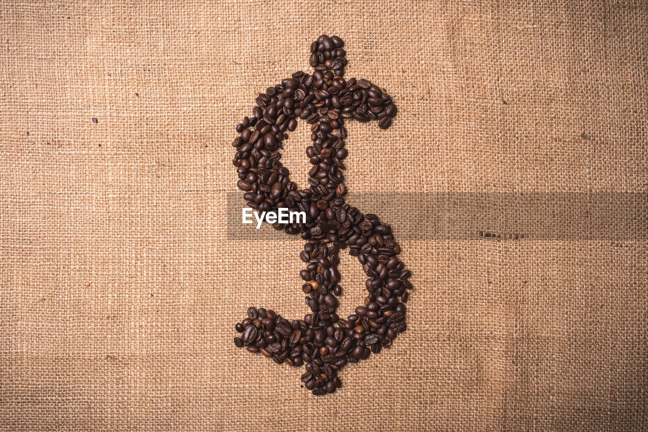 Dollar sign formed of coffee beans on sack