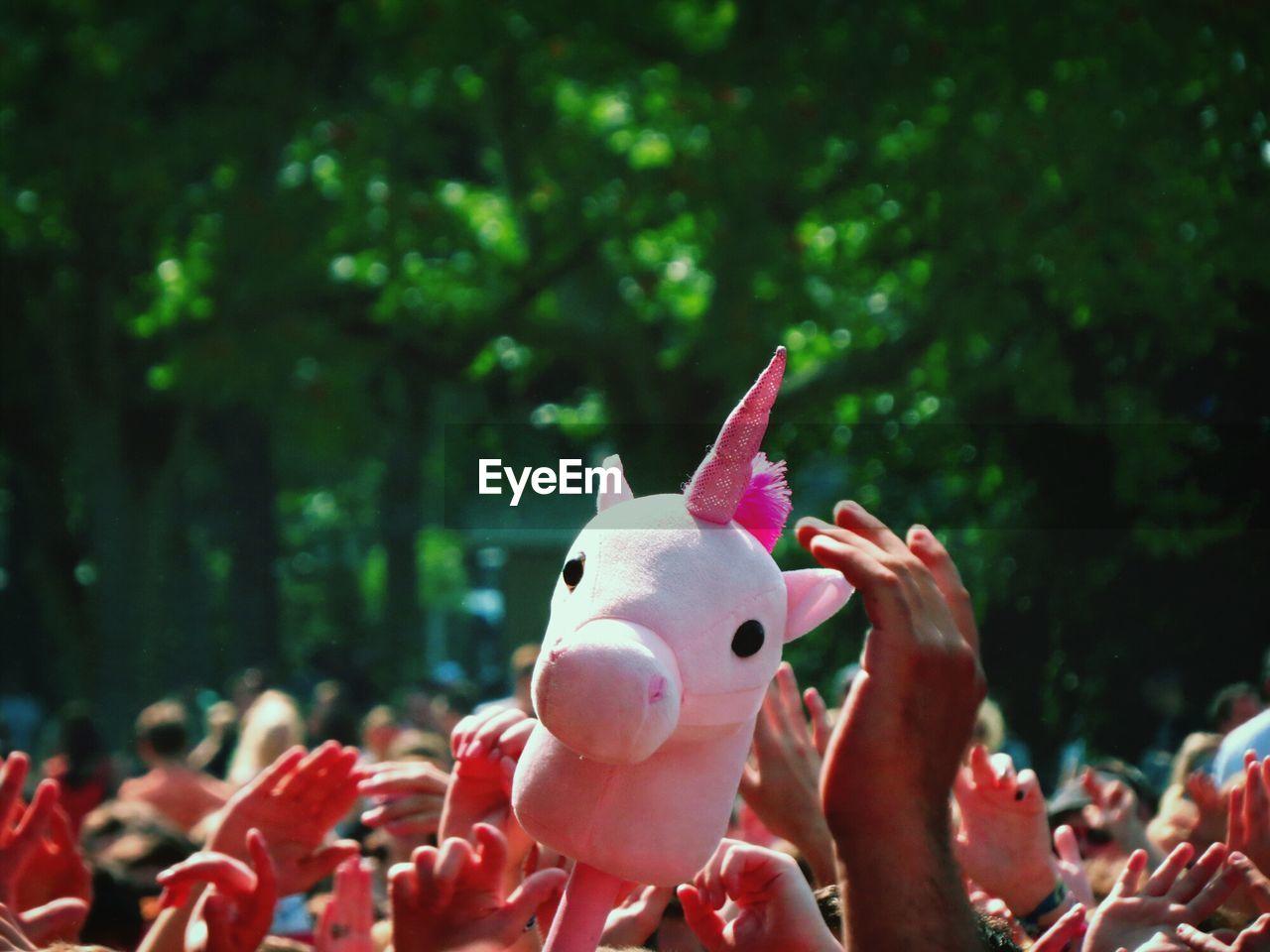 Pink unicorn puppet