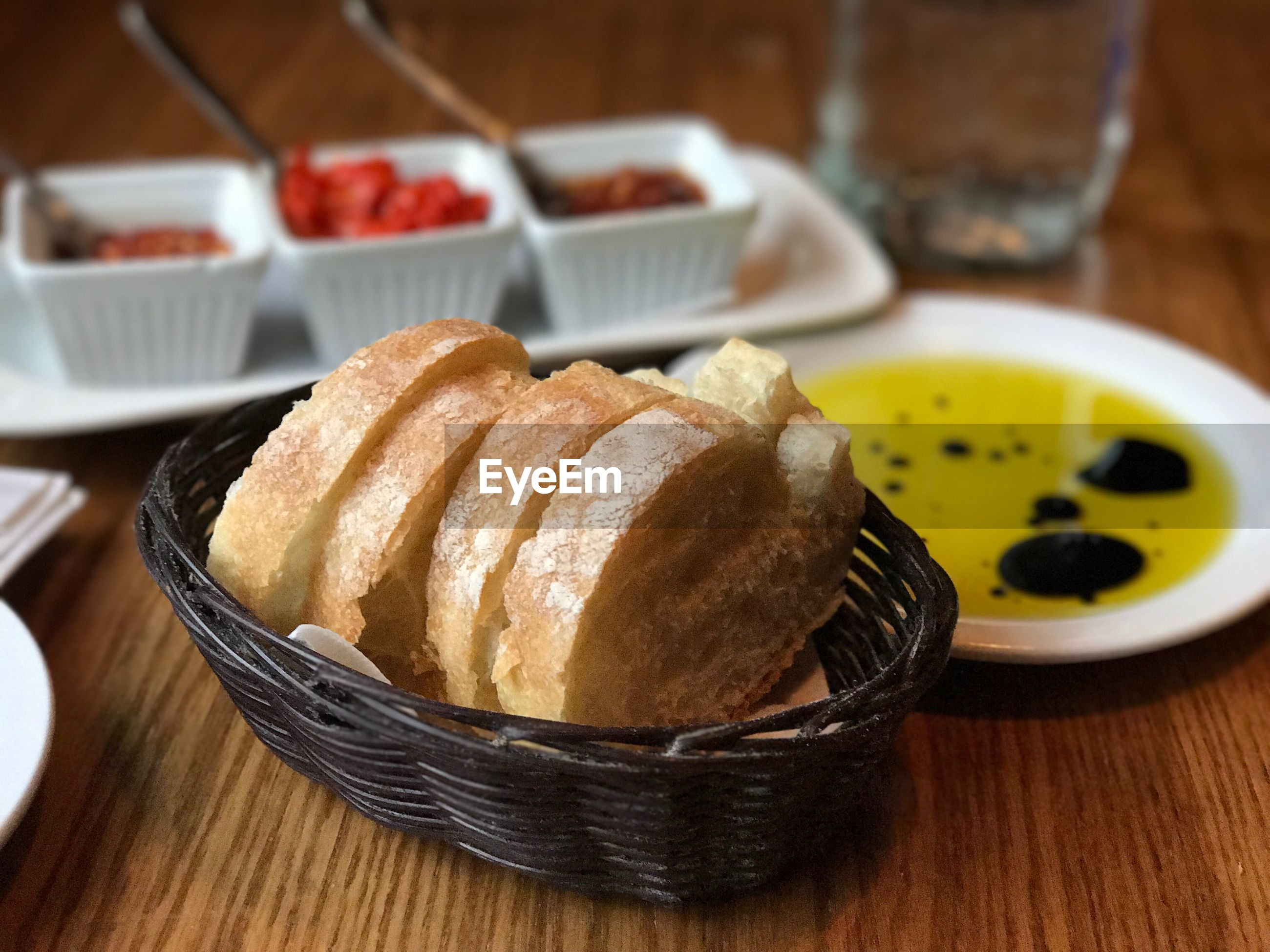 Close-up of food at table
