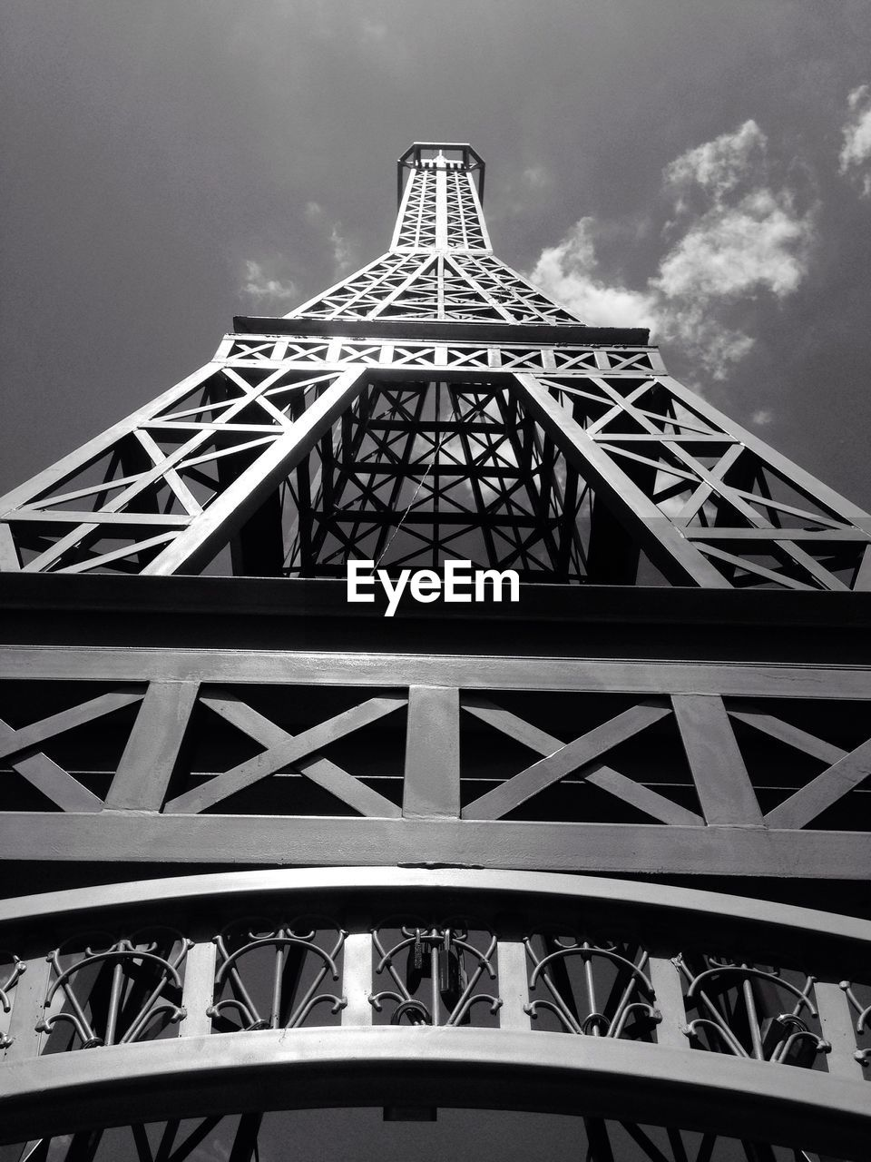 Low angle view of replica eiffel tower against sky