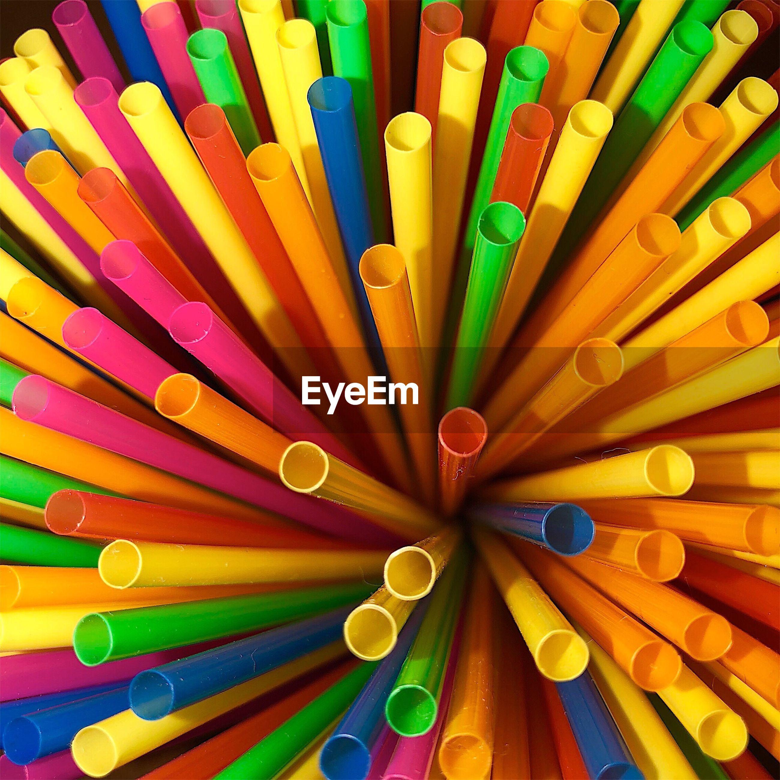 Full frame shot of multi colored drinking straws