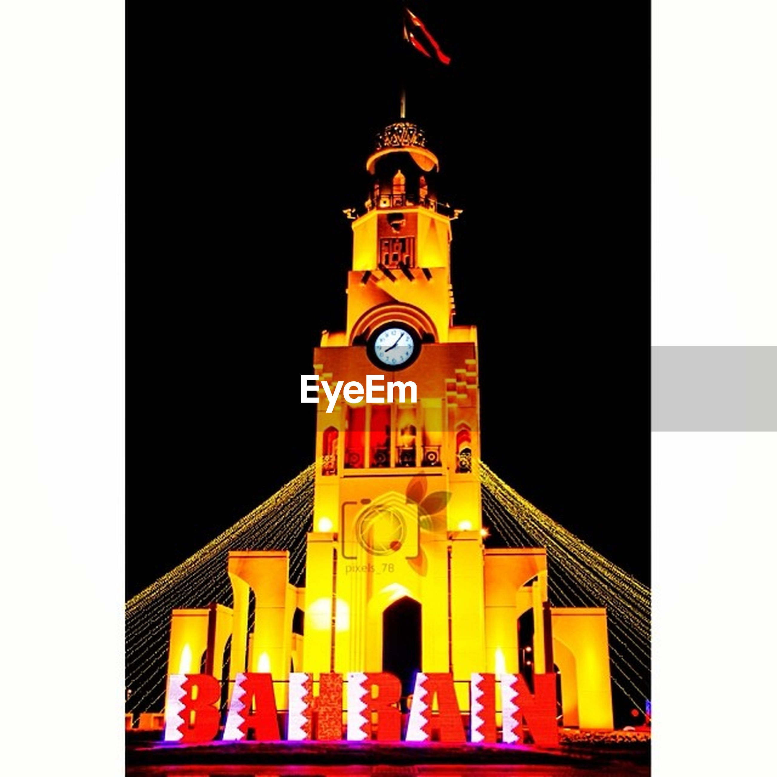 architecture, built structure, building exterior, low angle view, transfer print, clear sky, clock tower, auto post production filter, night, illuminated, place of worship, arch, religion, church, tower, copy space, city, facade, spirituality